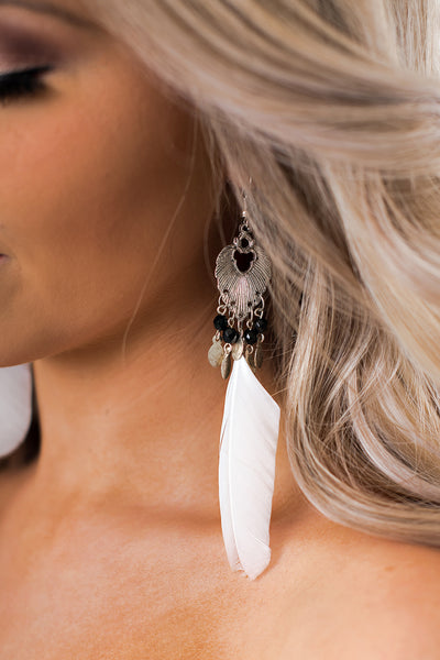 Nettie Feather Earrings (Silver/Ivory)