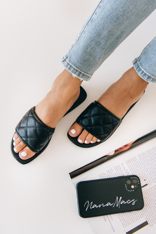 Queen Of The Court Quilted Slides (Black) - NanaMacs
