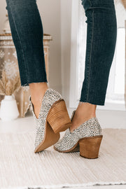 Change It Up Faux Fur Spotted Booties (Beige) - NanaMacs