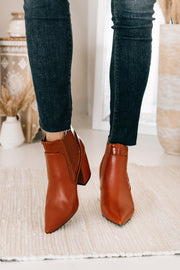 Rule The World Faux Leather Booties (Cognac) - NanaMacs