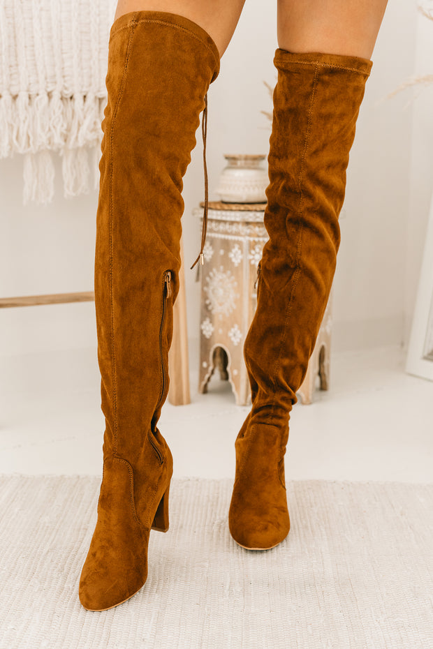 Evalina Faux Suede Thigh High Boots