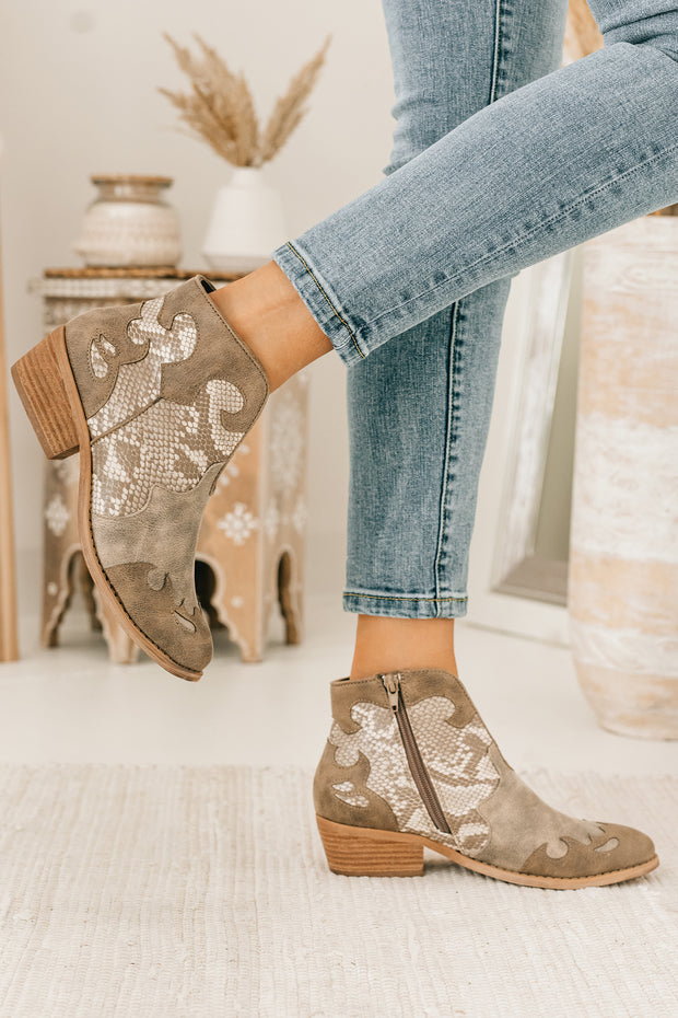 Country Girl Faux Leather Leopard Booties (Cream) - NanaMacs