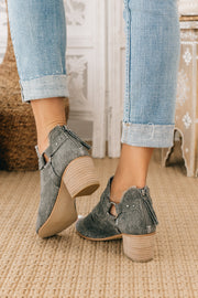 Totally Fearless Open Toe Canvas Booties (Grey) - NanaMacs