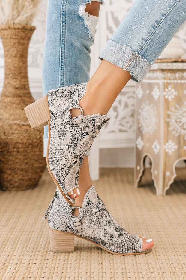 Totally Fearless Open Toe Canvas Booties (White) - NanaMacs