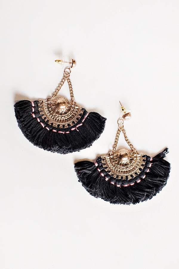 Ines Tassel Trim Earrings (Gold/Black)