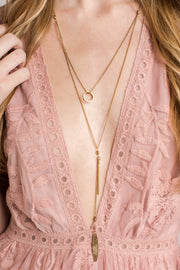 Quincy Multi Tier Geometric Necklace (Gold)