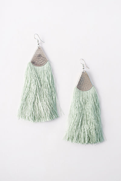 Jupiter Fringe Trim Earrings (Mint/Silver)