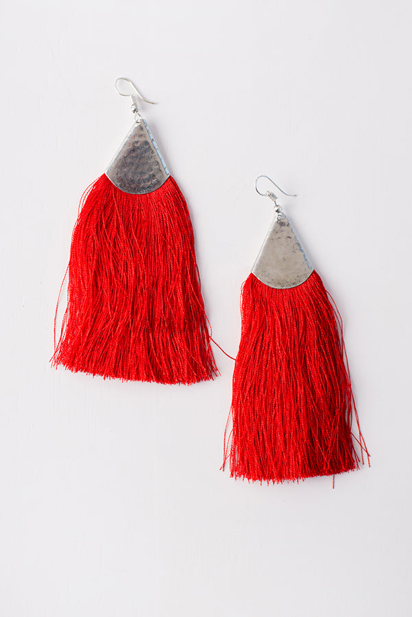 Jupiter Fringe Trim Earrings (Red/Silver) - NanaMacs
