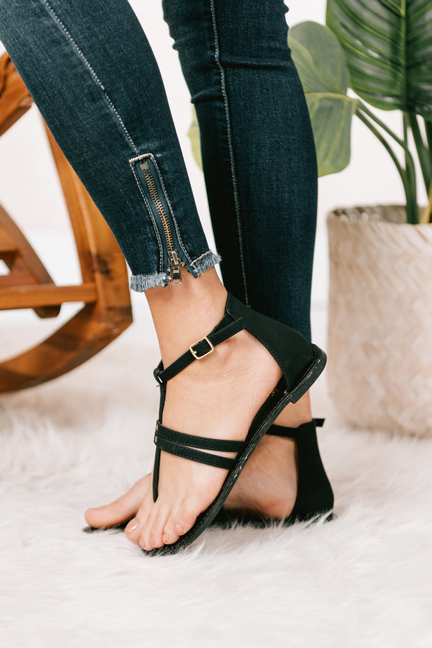 Best Choice Ankle Wrap Flat Sandals (Black Nubuck) - NanaMacs