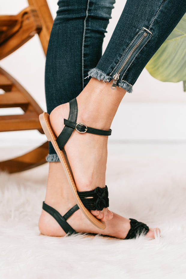 Not My Problem Crochet Sandals (Black Crochet) - NanaMacs