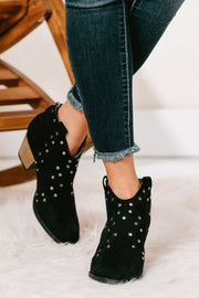 Find My Feet Studded Booties (Black Suede) - NanaMacs