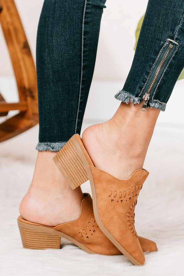 I'm Fine Heeled Mule Slides (Distressed Camel) - NanaMacs