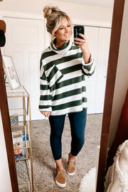 Love You More Striped Cowl Neck Sweater (Olive) - NanaMacs