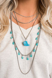 Farah Multi Layer Necklace (Silver/Turquoise)