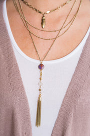 Raine Layered Necklace (Gold/Purple)