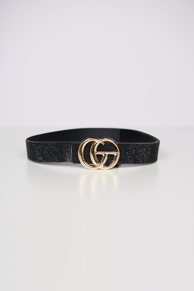 In High Demand Rhinestone Belt (Black) - NanaMacs