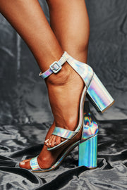 Meet Me On The Dance Floor Holographic Heels (Silver) - NanaMacs
