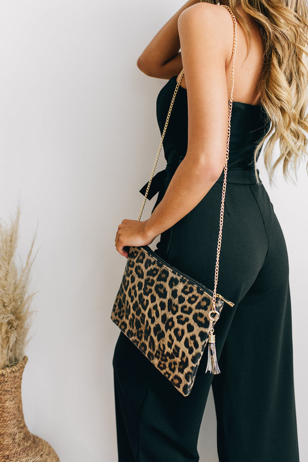 Cat Got Your Tongue Leopard Print Crossbody Bag (Leopard) - NanaMacs