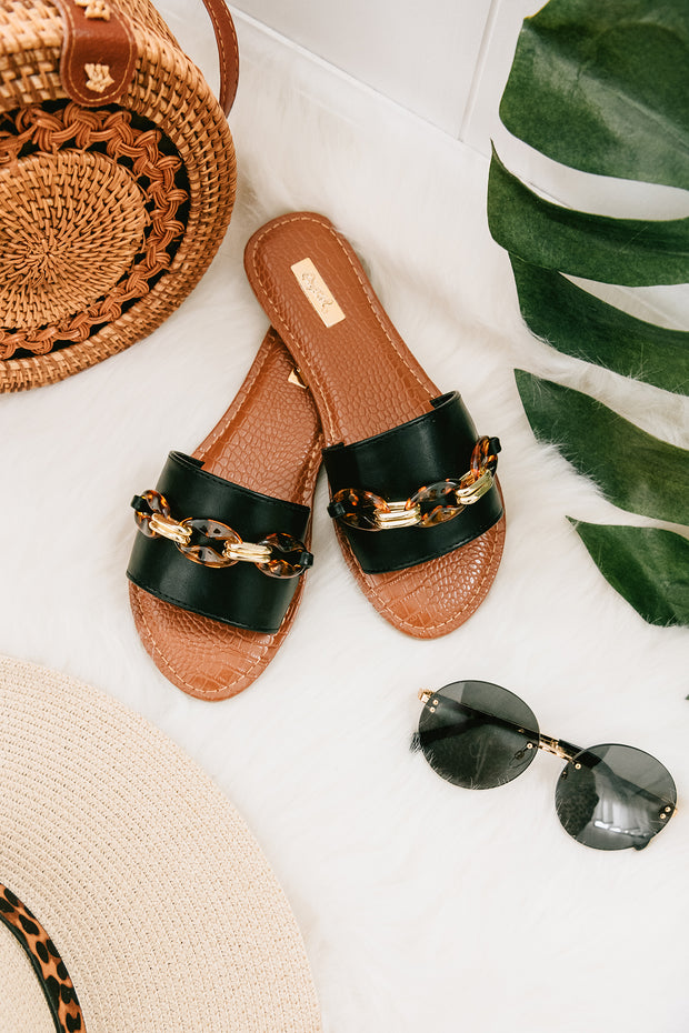 Caught Your Attention Chain Slip On Sandals (Black) - NanaMacs