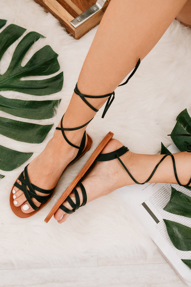 On A Journey Ankle Wrap Sandals (Black) - NanaMacs