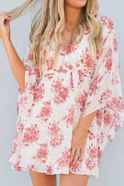 Look Away Dress (Taupe/Red)