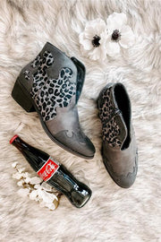 Country Girl Faux Leather Leopard Booties (Grey) - NanaMacs