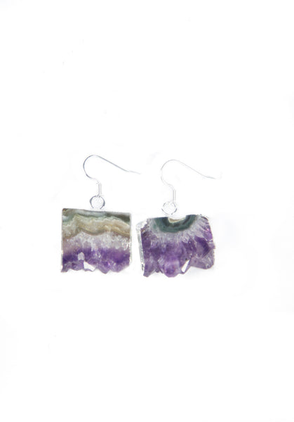 Silver Amethyst Slice Earrings