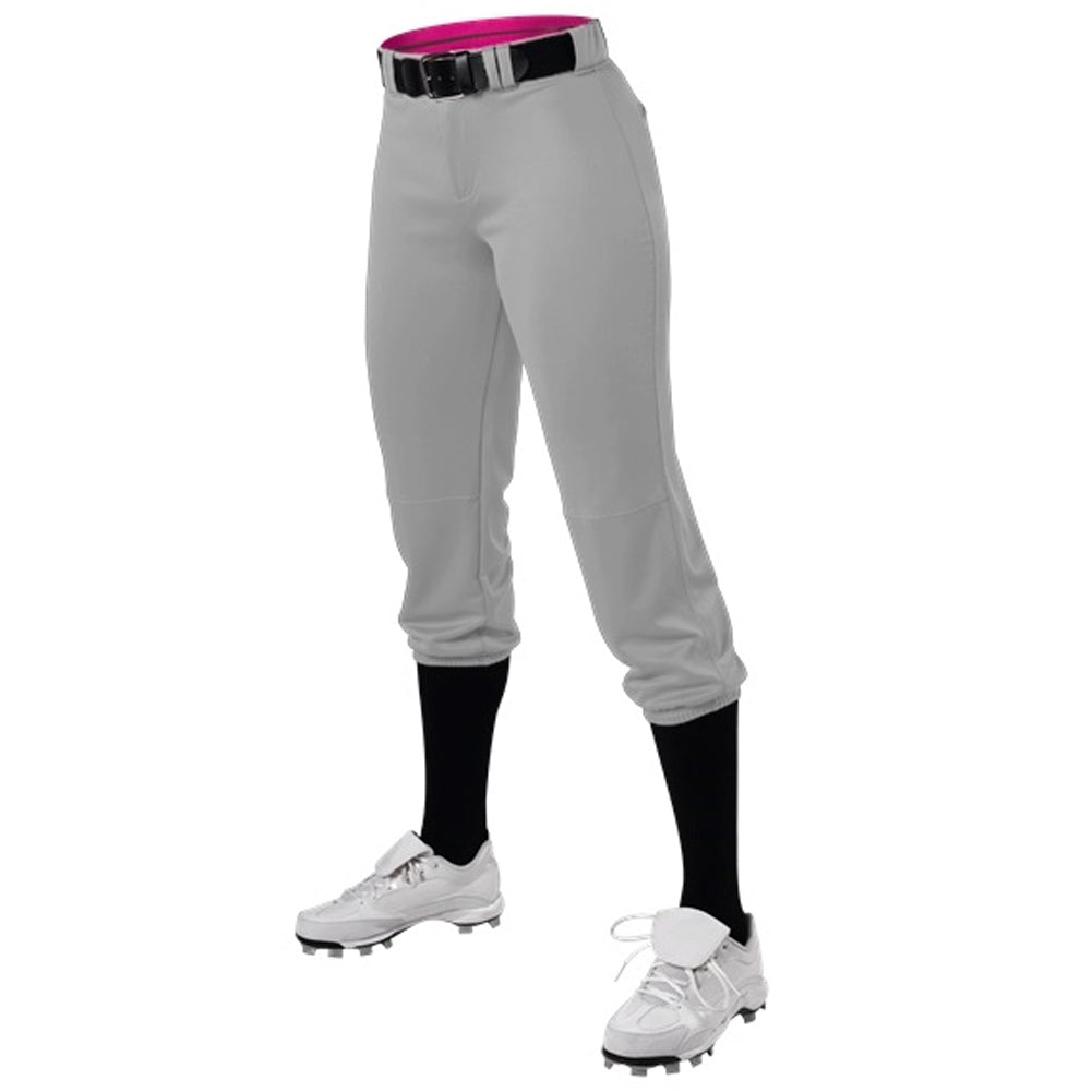 ALLESON ATHLETIC Girls Belted Speed Premium Fastpitch Gray Pant (615PSG-GR)