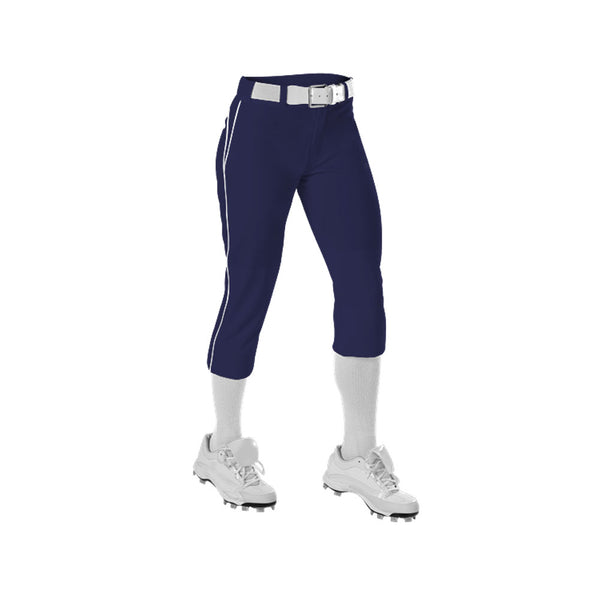 ALLESON ATHLETIC Womens Belted Piped Fastpitch Navy/White Pant (625PBW-NAWH)