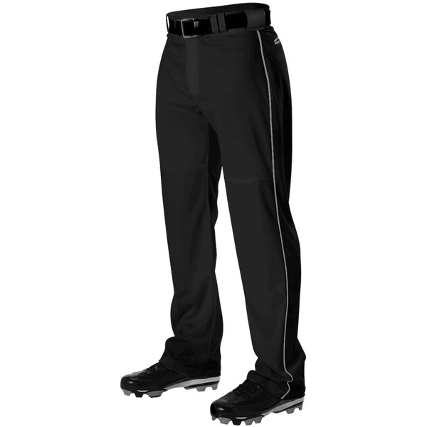 ALLESON ATHLETIC Adult Warp Knit Black/White Baseball Pant With Side Braid (PWRPBP-BKWH)