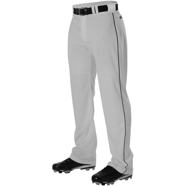 ALLESON ATHLETIC Adult Warp Knit Gray/Black Baseball Pant With Side Braid (PWRPBP-GRBK)