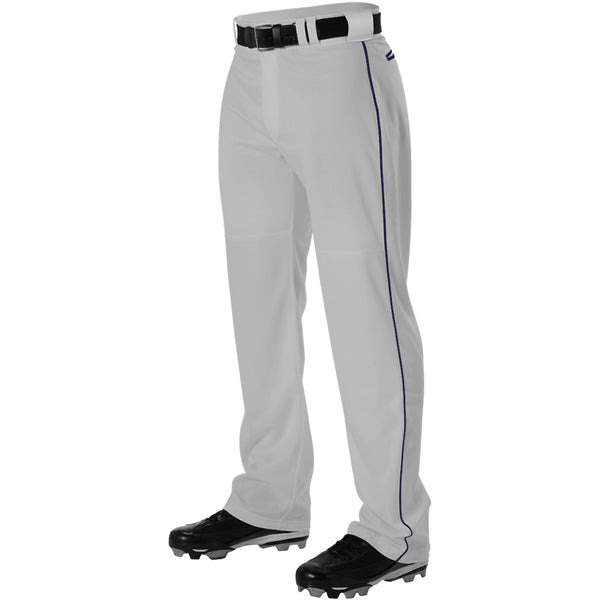 ALLESON ATHLETIC Adult Warp Knit White/Navy Baseball Pant With Side Braid (PWRPBP-GRNA)