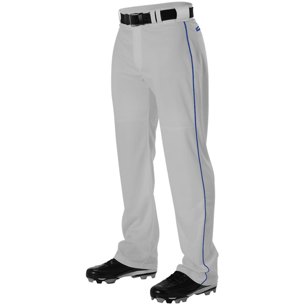 ALLESON ATHLETIC Adult Warp Knit Gray/Royal Baseball Pant With Side Braid (PWRPBP-GRRO)