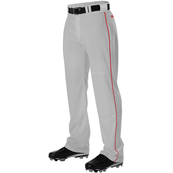ALLESON ATHLETIC Adult Warp Knit Gray/Scarlet Baseball Pant With Side Braid (PWRPBP-GRSC)
