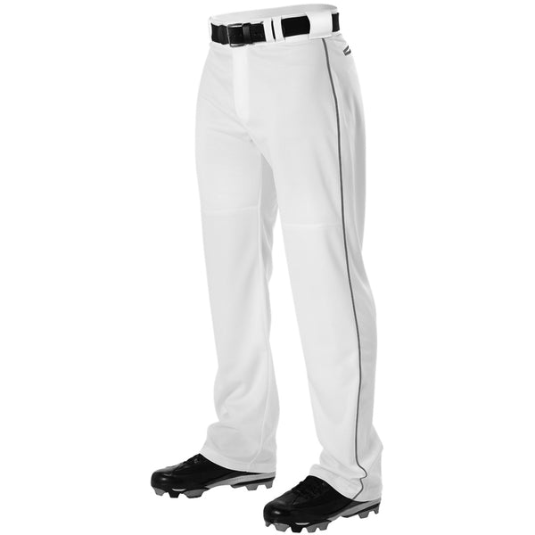 ALLESON ATHLETIC Adult Warp Knit White/Charcoal Baseball Pant With Side Braid (PWRPBP-WHCH)