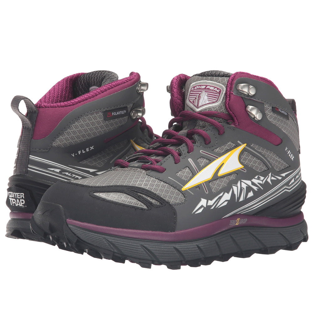 ALTRA Womens Lone Peak 3 Mid Neo Gray/Purple Running Shoes (A2653MID-2)