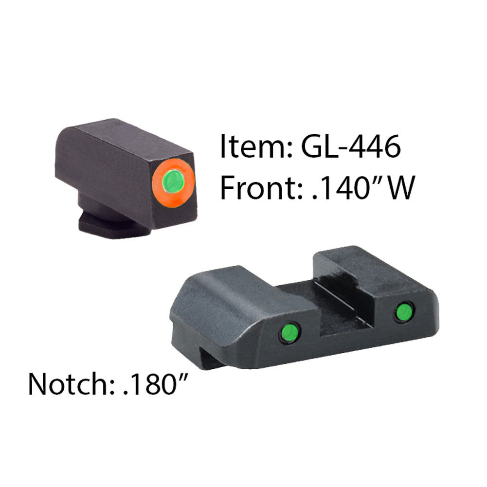 AMERIGLO Glock Spartan Operator Green Tritium Orange Outline Front and Green Rear Sights (GL-446)