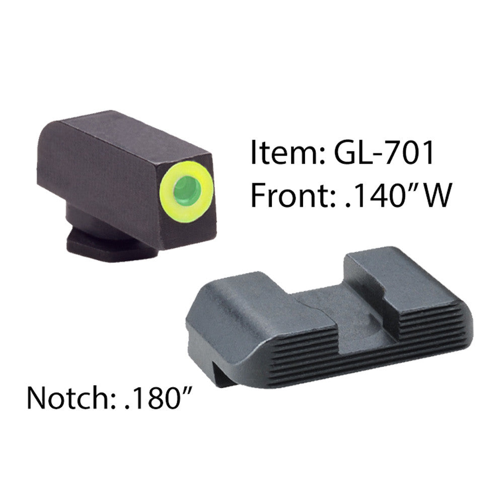 AMERIGLO Glock Protector Green Tritium LumiGreen Outline Front and Black Rear Sights (GL-701)