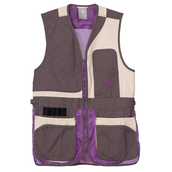 BROWNING Womens Trapper Creek Mesh Shooting Cream/Plum/Gray Vest (3050696701)