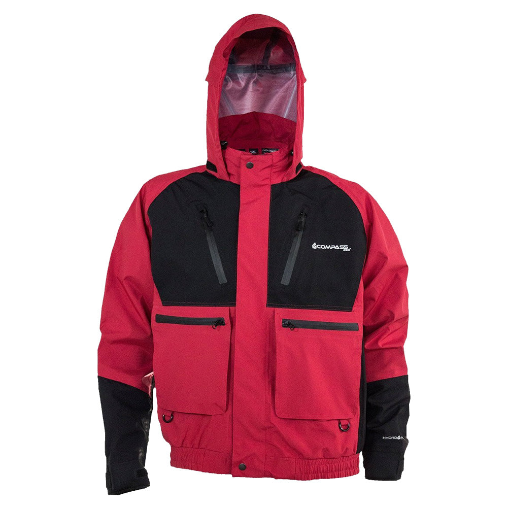 COMPASS 360 Thunder HydroTek Two-Tone Black/Red Rain Jacket (HT23102-1040)