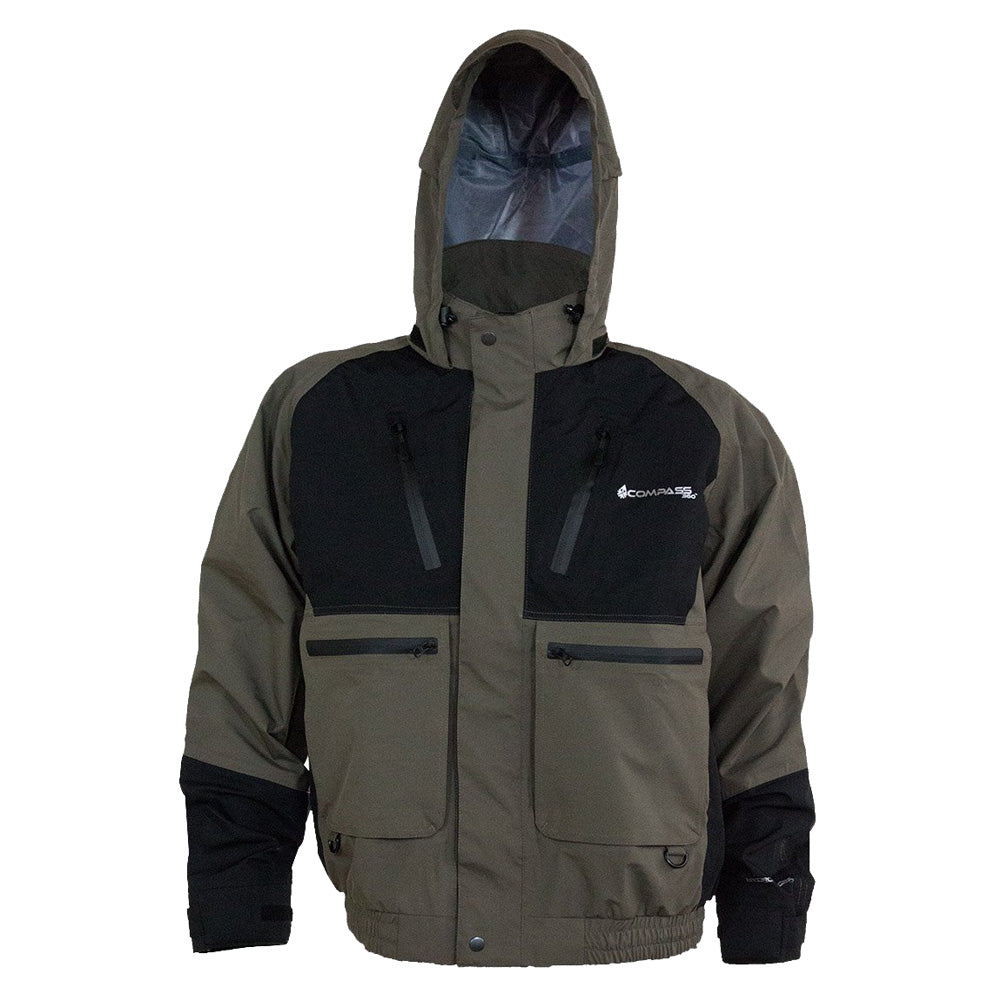 COMPASS 360 Thunder HydroTek Two-Tone Black/Stone Rain Jacket (HT23102-1085)