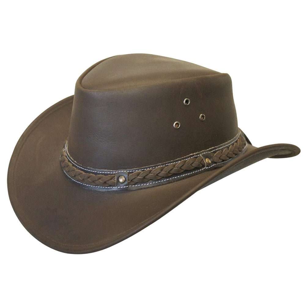 CONNER HATS Down Under Brown Leather Hat (A1001-BRW)