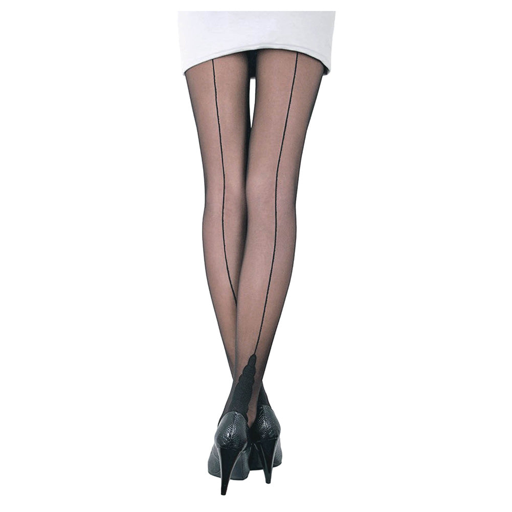 Conte Women's Black Sheer Back Seam Pantyhose Tights with Decorative Heel - Stella