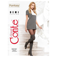 Conte Women's Black - Dark Grey Tights with Sheer Top and  Thigh High Opaque Knit Stockings
