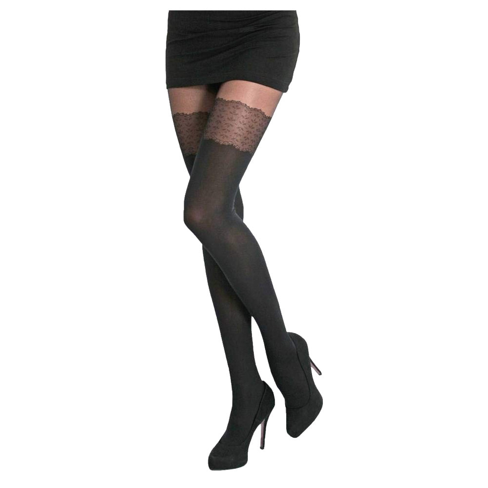 Conte elegant Womens 50 denier matte pantyhose with imitation of stockings - Piano