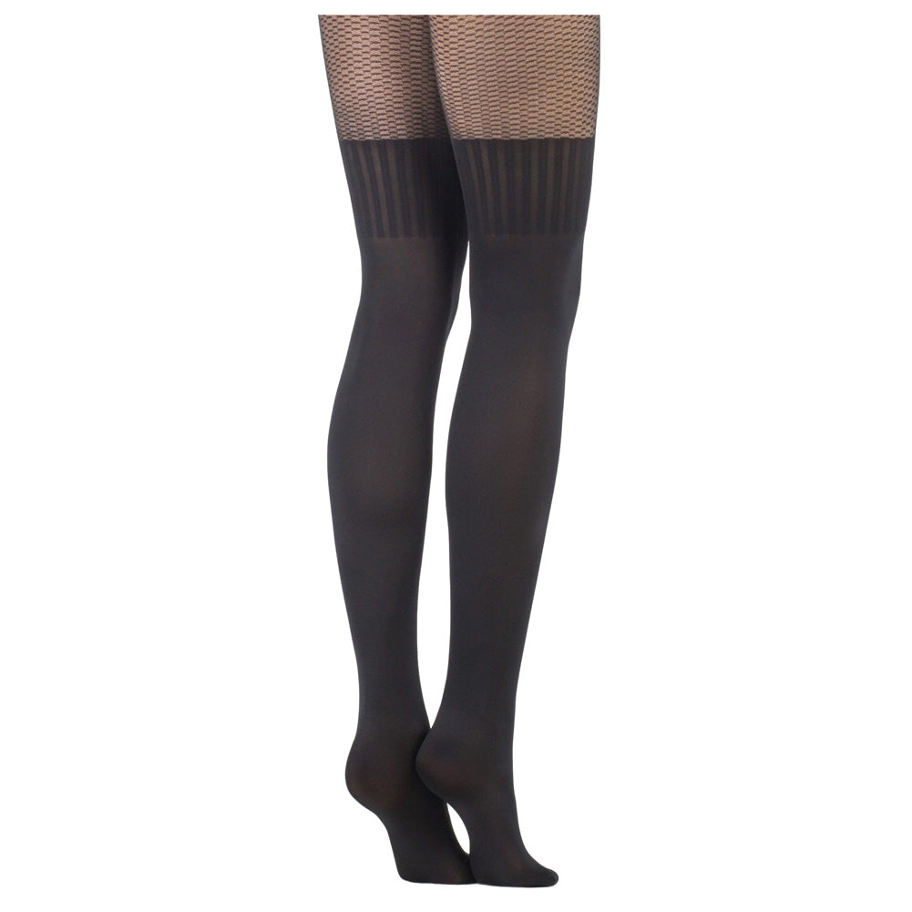 Conte Women's Black (Nero) Pantyhose Tights with a Thigh High Stockings Pattern and Lace Top Jaclin