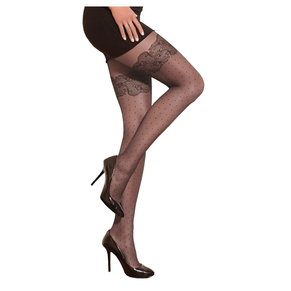 Conte Women's Grey Polka Dot Pantyhose Tights with Decorative Stocking Imitation - Mercy