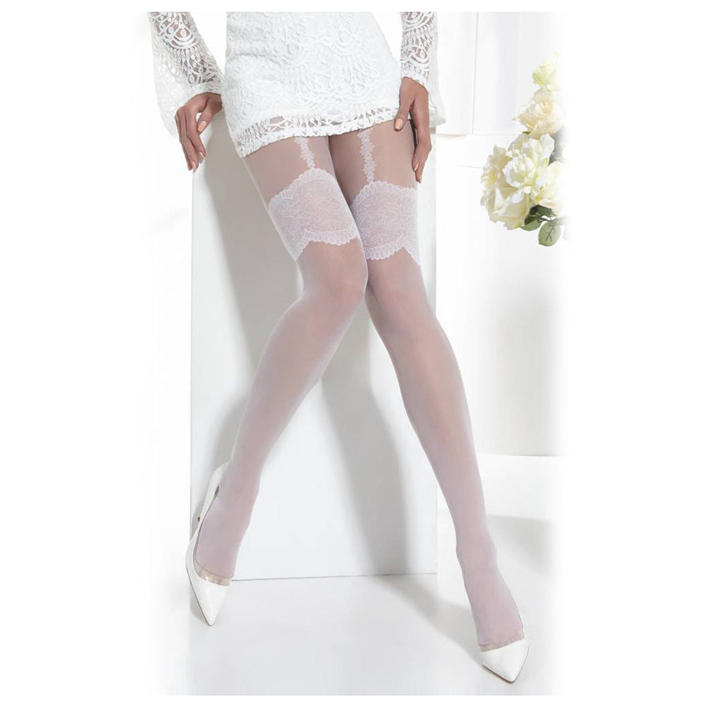Conte Women's Sheer White Pantyhose Imitating Thigh High Garter Stockings with Bands - Sensuale