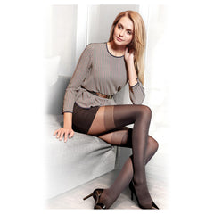 Conte Beautiful Women's Black (Nero) Elegant Pantyhose Tights with Stockings Imitation Pattern