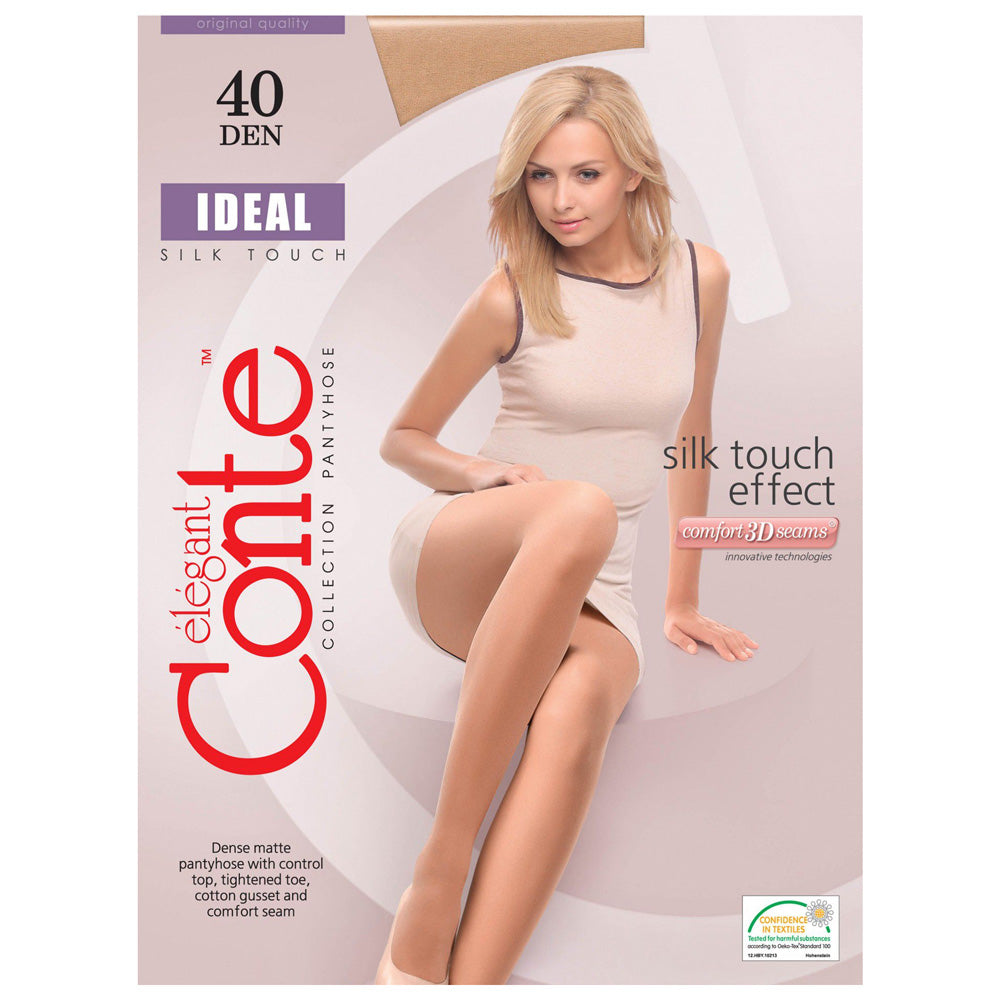 Conte Women's Matte Beige  Pantyhose Tights with Control Top - Ideal - 40 denier